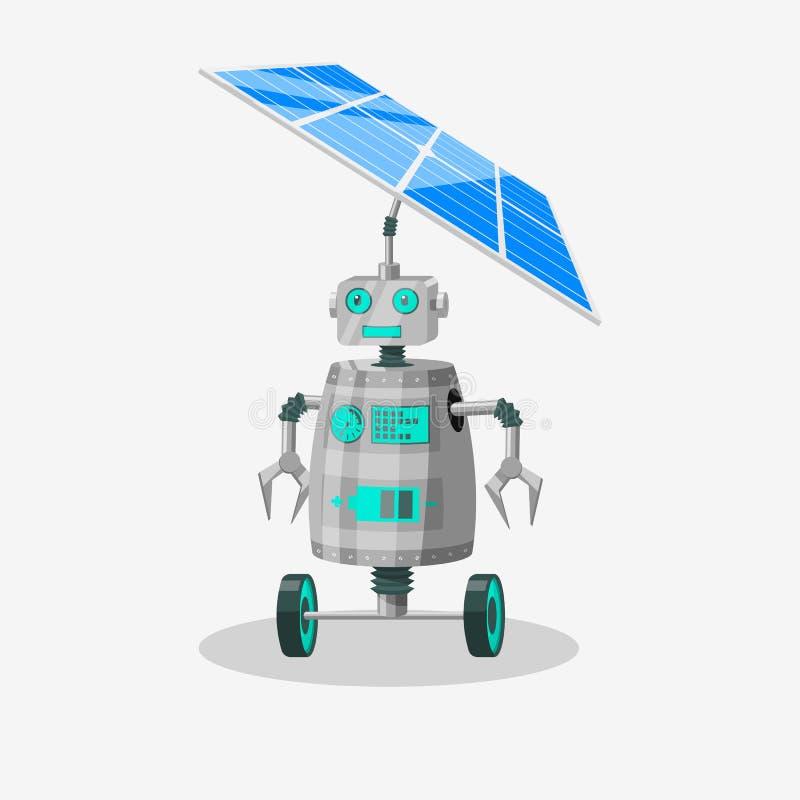 Αστείος χαρακτήρας ρομπότ με τις ρόδες που τρέχουν σε μια ηλιακή μπαταρία επίσης corel σύρετε το διάνυσμα απεικόνισης ελεύθερη απεικόνιση δικαιώματος