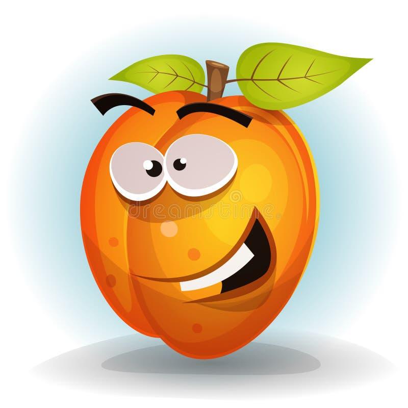 Αστείος χαρακτήρας φρούτων βερίκοκων διανυσματική απεικόνιση