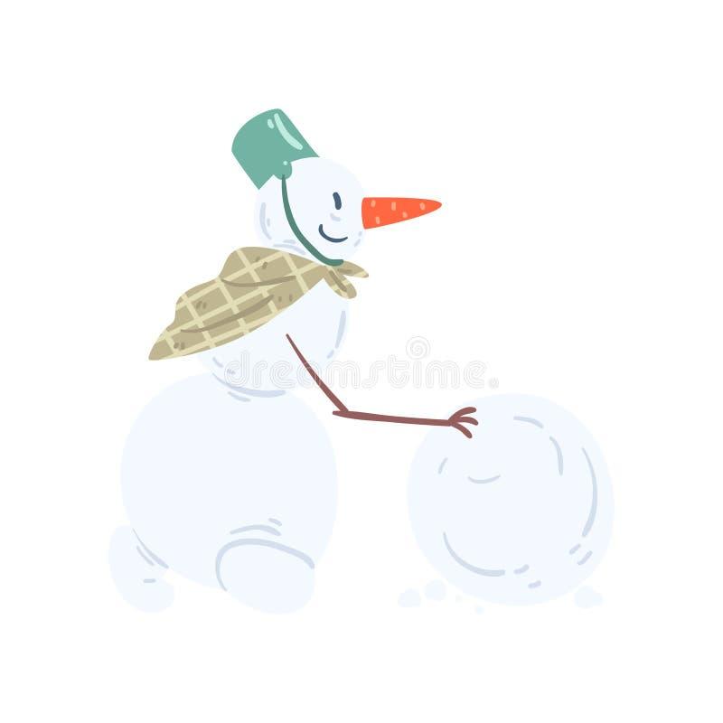 Αστείος χαρακτήρας χιονανθρώπων που κυλά μια χιονιά, Χριστούγεννα και μια νέα απεικόνιση στοιχείων διακοσμήσεων διακοπών έτους δι απεικόνιση αποθεμάτων