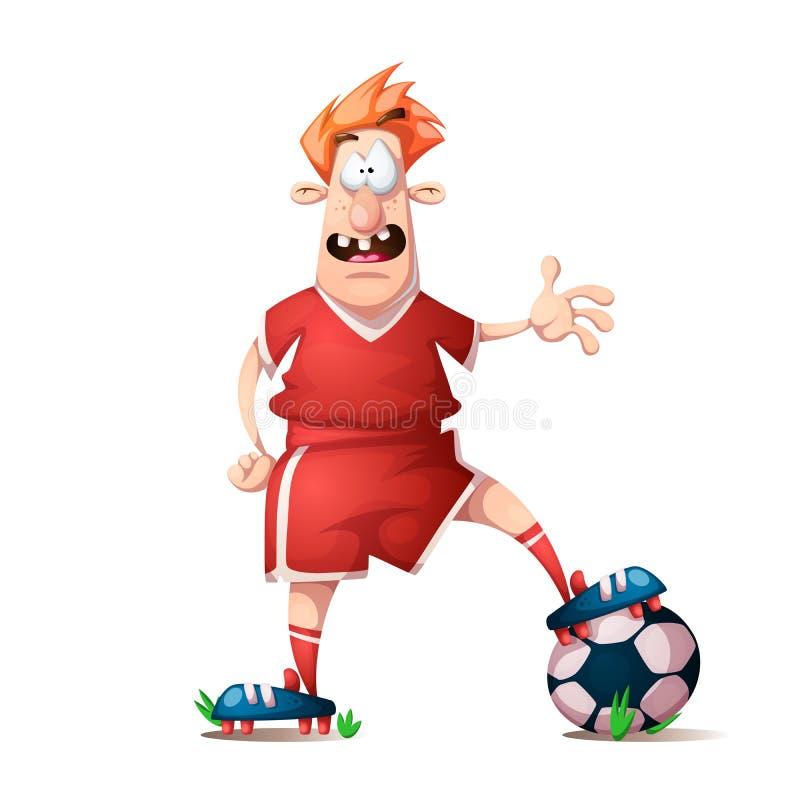 Αστείος, χαριτωμένος ποδοσφαιριστής κινούμενων σχεδίων απεικόνιση αποθεμάτων