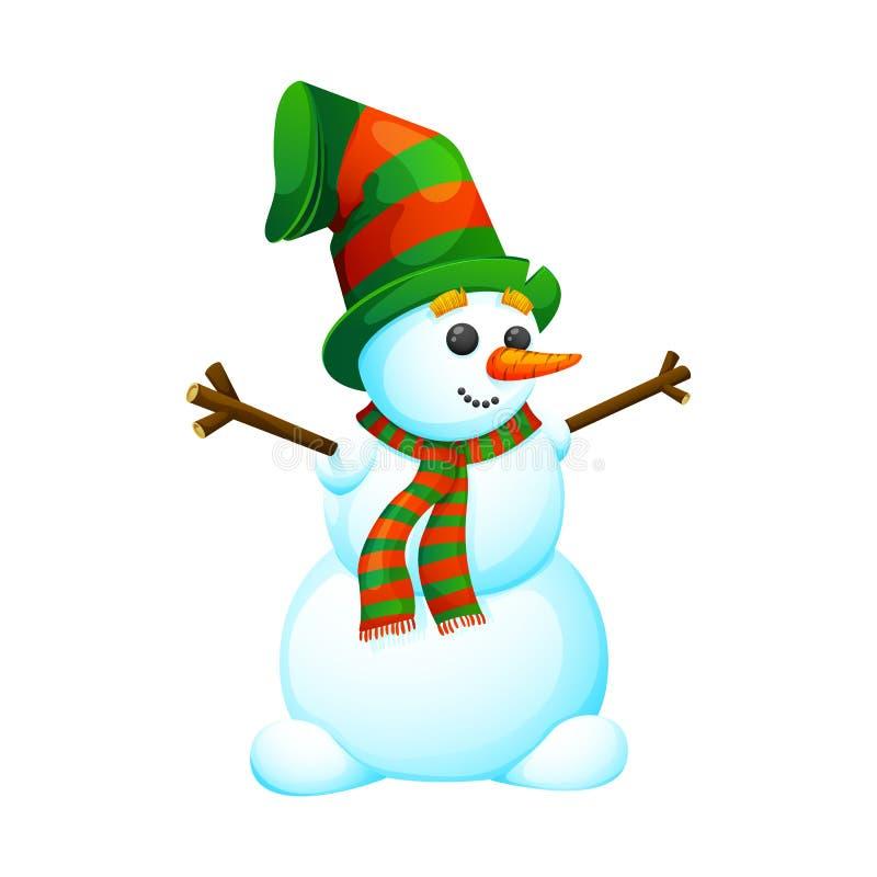 Αστείος, χιονάνθρωπος κινούμενων σχεδίων σε ένα καπέλο στοκ εικόνες