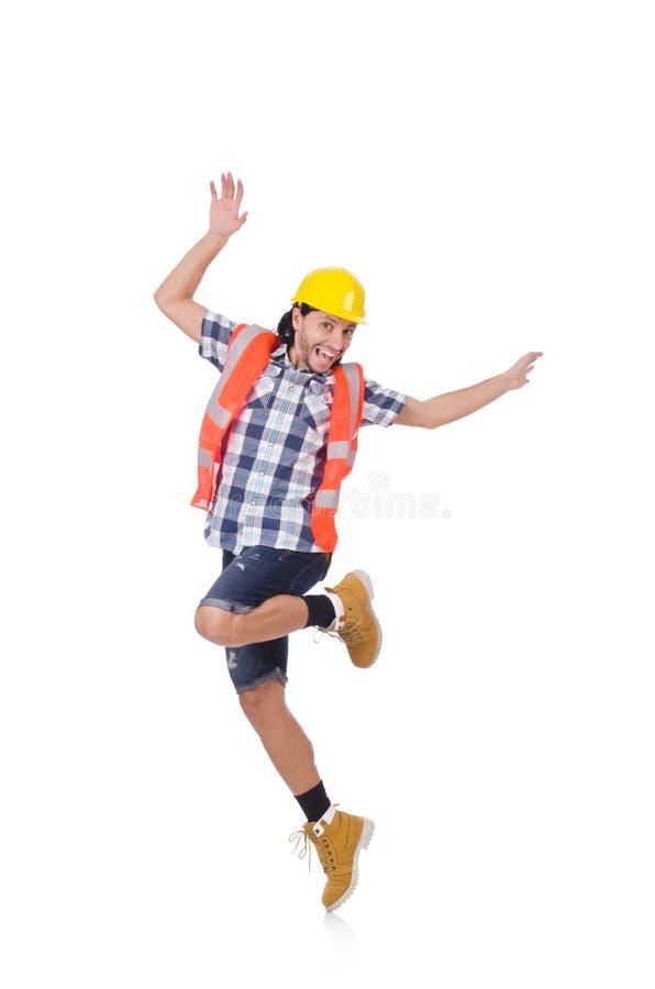 Αστείος χορεύοντας νέος εργάτης οικοδομών που απομονώνεται στοκ φωτογραφία με δικαίωμα ελεύθερης χρήσης