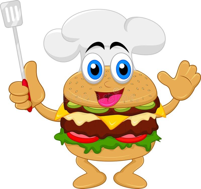 Αστείος burger κινούμενων σχεδίων χαρακτήρας αρχιμαγείρων στοκ εικόνες με δικαίωμα ελεύθερης χρήσης