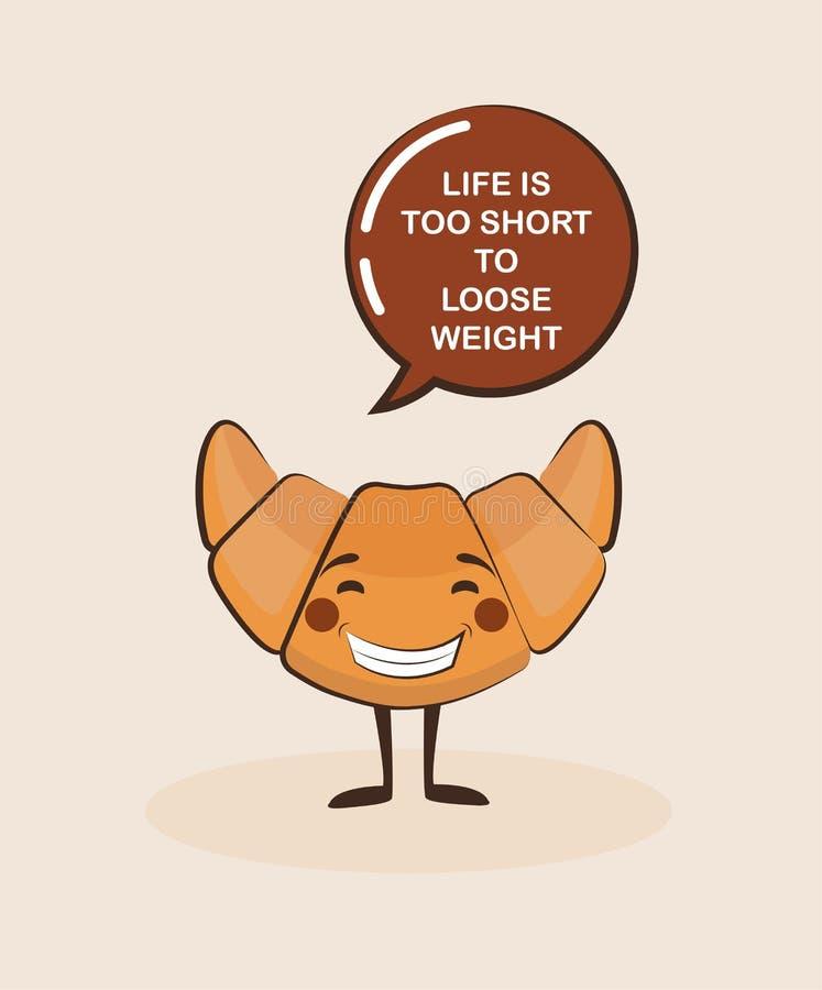 Αστείος croissant χαρακτήρας με το απόσπασμα έμπνευσης Emoji τροφίμων προσώπου κινούμενων σχεδίων fuuny έννοια τροφίμων διανυσματική απεικόνιση