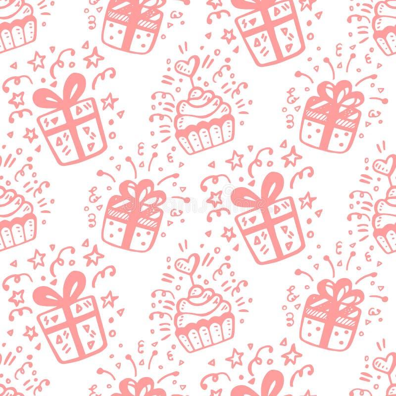 Αστείο άνευ ραφής σχέδιο γιορτής γενεθλίων με συρμένα τα χέρι κιβώτια και τα κέικ δώρων ελεύθερη απεικόνιση δικαιώματος