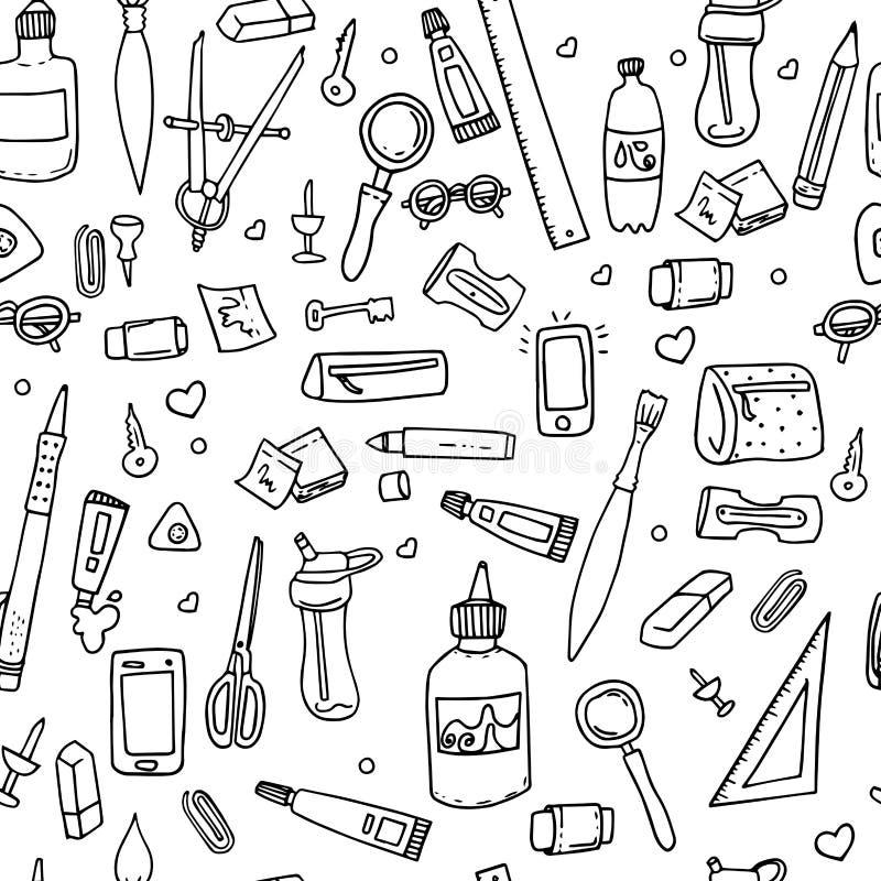 Αστείο άνευ ραφής σχέδιο με τις σχολικές προμήθειες και τα δημιουργικά στοιχεία πίσω σχολείο ανασκόπησης Στο γραπτό ύφος απεικόνιση αποθεμάτων