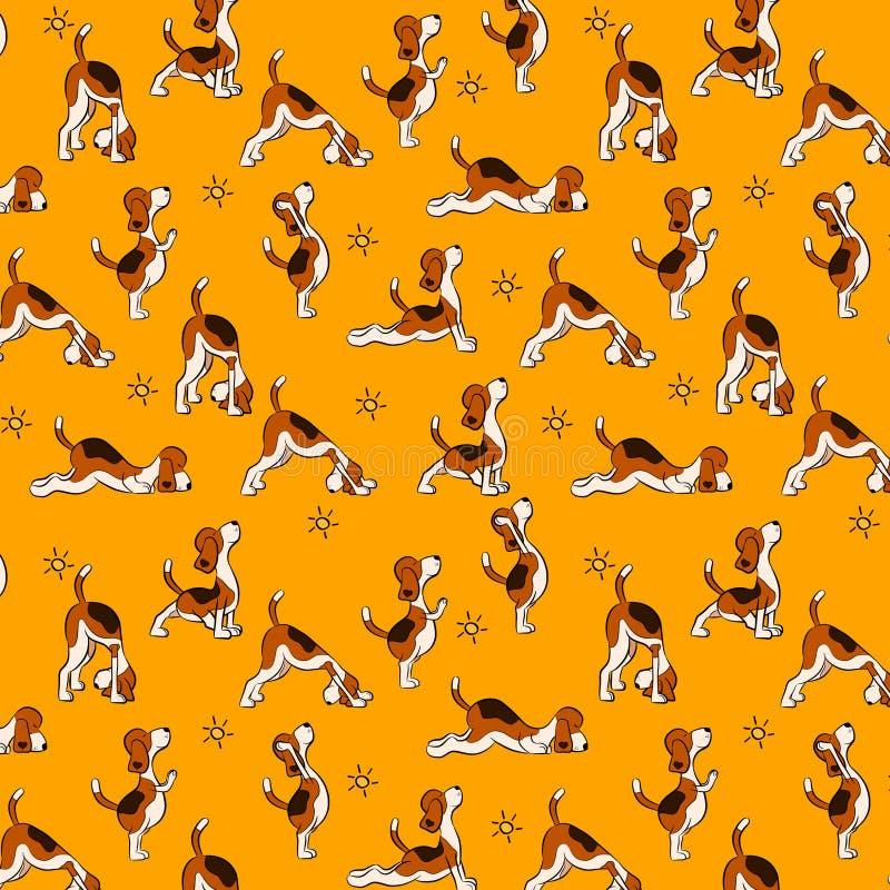 Αστείο άνευ ραφής σχέδιο με το απομονωμένο σκυλί κινούμενων σχεδίων που κάνει τη θέση γιόγκας Surya Namaskara διανυσματική απεικόνιση