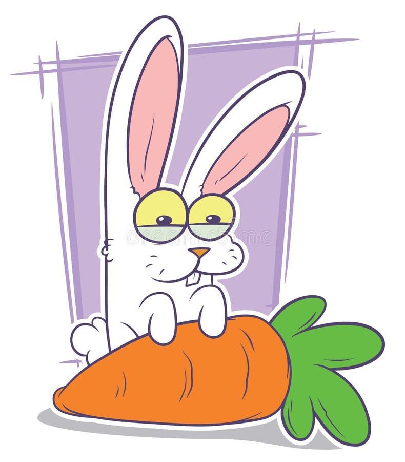 Αστείο άσπρο κουνέλι κινούμενων σχεδίων με το μεγάλο καρότο ελεύθερη απεικόνιση δικαιώματος