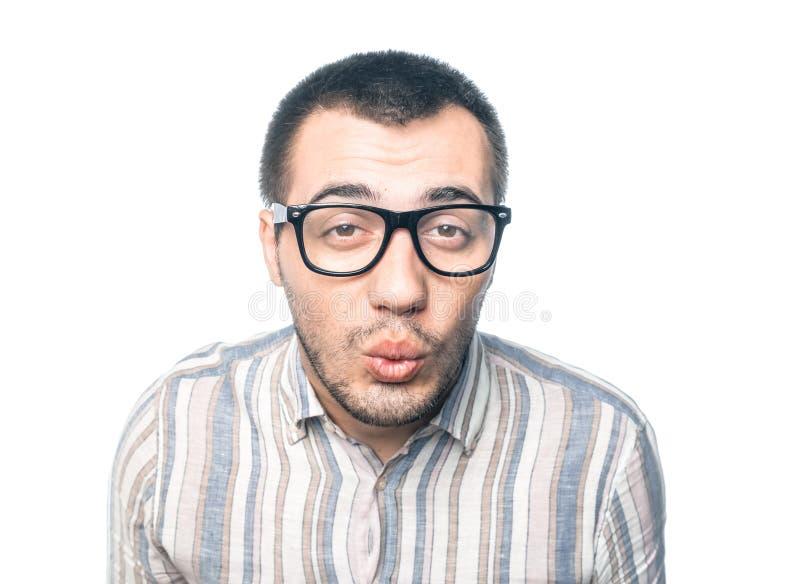 Αστείο άτομο κινηματογραφήσεων σε πρώτο πλάνο στοκ φωτογραφίες με δικαίωμα ελεύθερης χρήσης