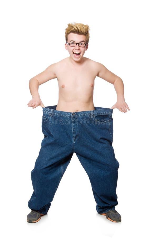 Αστείο άτομο με το παντελόνι που απομονώνεται στοκ εικόνες