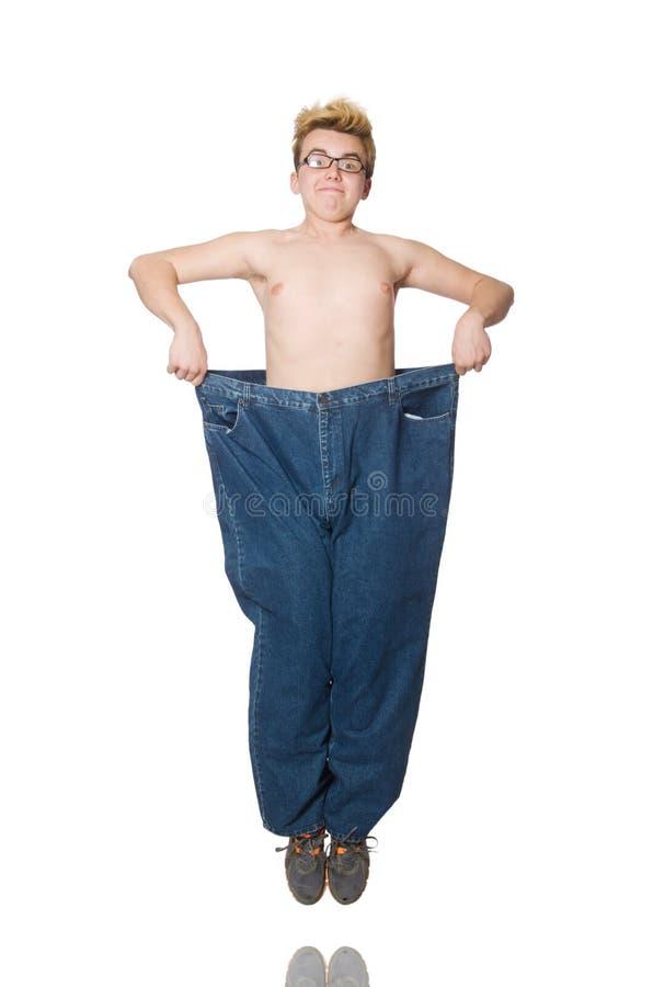 Αστείο άτομο με το παντελόνι που απομονώνεται στοκ φωτογραφία με δικαίωμα ελεύθερης χρήσης