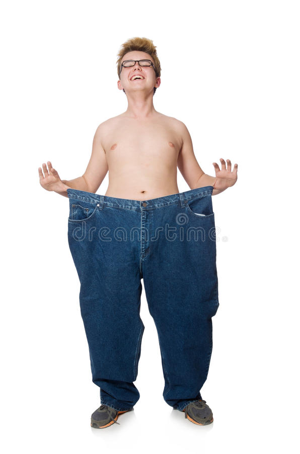 Αστείο άτομο με το παντελόνι που απομονώνεται στοκ φωτογραφία