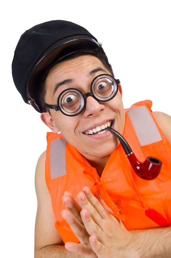 Download Αστείο άτομο που φορά την πορτοκαλιά φανέλλα ασφάλειας Στοκ Εικόνες - εικόνα από ζωή, κυβερνήτης: 62707598