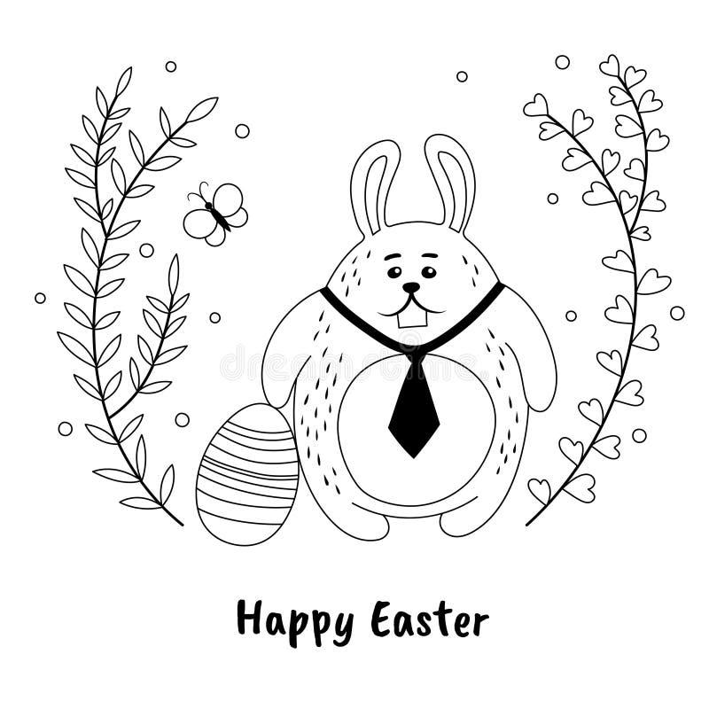 Αστείο λαγουδάκι Πάσχας και χρωματισμένο αυγό στο hand-drawn ύφος Γραπτό πρότυπο σχεδίου καρτών Πάσχας απεικόνιση αποθεμάτων
