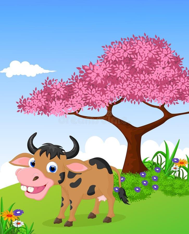 Αστείο αγρόκτημα με το υπόβαθρο ζωής κινούμενων σχεδίων αγελάδων διανυσματική απεικόνιση