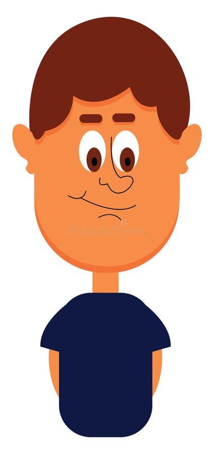 Αστείο αγόρι κινούμενων σχεδίων με διάνυσμα μπλε μπλουζιού ή έγχρωμη απεικόνιση ελεύθερη απεικόνιση δικαιώματος