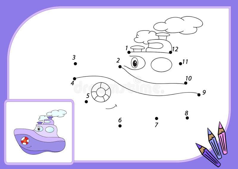 Αστείο ατμόπλοιο κινούμενων σχεδίων Συνδέστε τα σημεία και πάρτε την εικόνα εκπαιδευτικός απεικόνιση αποθεμάτων