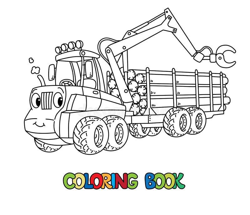 Αστείο αυτοκίνητο θεριστικών μηχανών με τα μάτια που χρωματίζουν το βιβλίο ελεύθερη απεικόνιση δικαιώματος