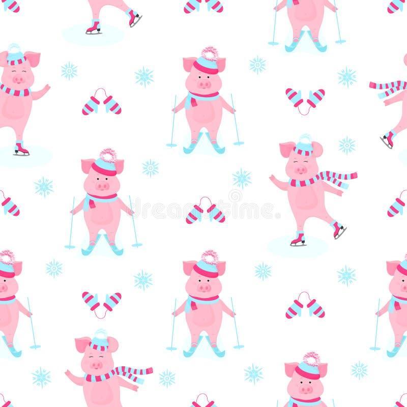 Αστείο γουρούνι στα σαλάχια Χαριτωμένο piggy να κάνει σκι Χοιρίδια στις χειμερινές διακοπές Χοίροι κινούμενων σχεδίων υπαίθρια πρ διανυσματική απεικόνιση