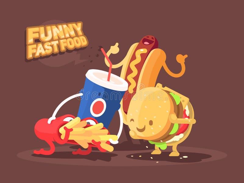 Αστείο γρήγορο φαγητό ελεύθερη απεικόνιση δικαιώματος