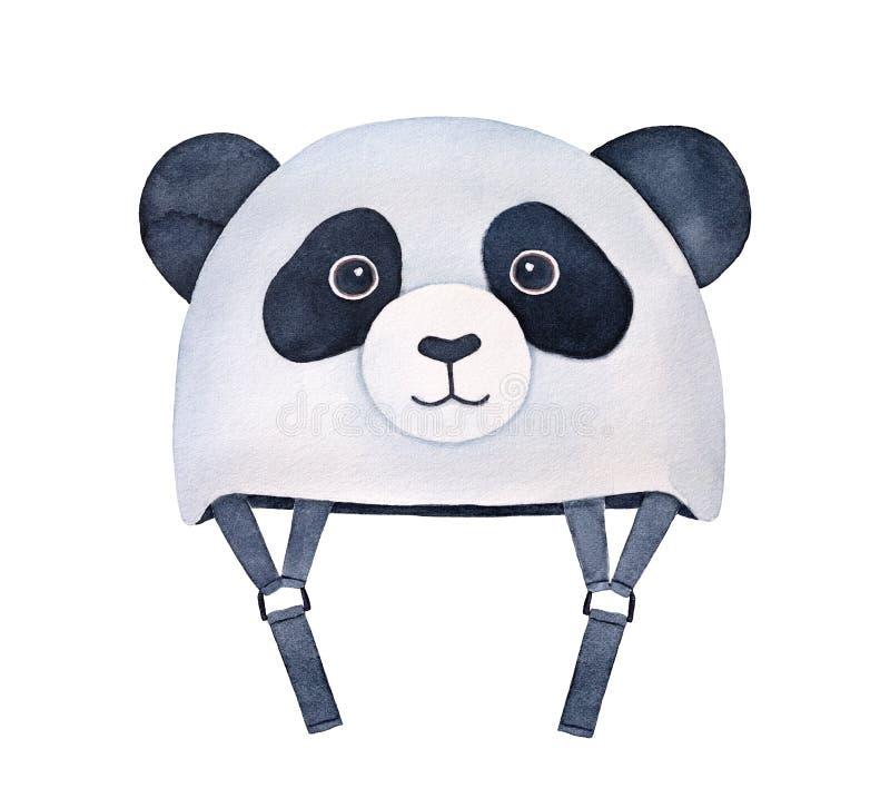 Αστείο γραπτό διαμορφωμένο panda κράνος για τα παιδιά ελεύθερη απεικόνιση δικαιώματος