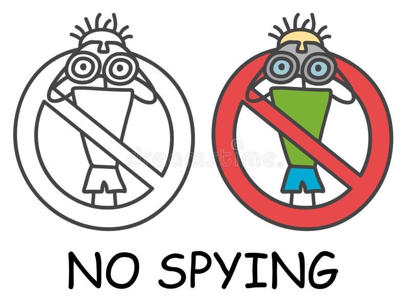Αστείο διανυσματικό άτομο ραβδιών με διόπτρες στο ύφος των παιδιών Καμία κόκκινη απαγόρευση σημαδιών κατασκόπευσης Σύμβολο στάσεω ελεύθερη απεικόνιση δικαιώματος