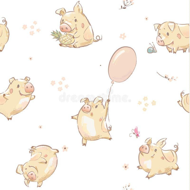Αστείο διανυσματικό σύνολο τυπωμένων υλών σχεδίων Piggy άνευ ραφής διανυσματική απεικόνιση