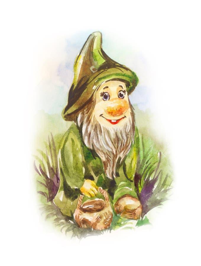 Αστείο ειδώλιο του κήπου dnome Χαριτωμένος χαρακτήρας Watercolor απεικόνιση αποθεμάτων