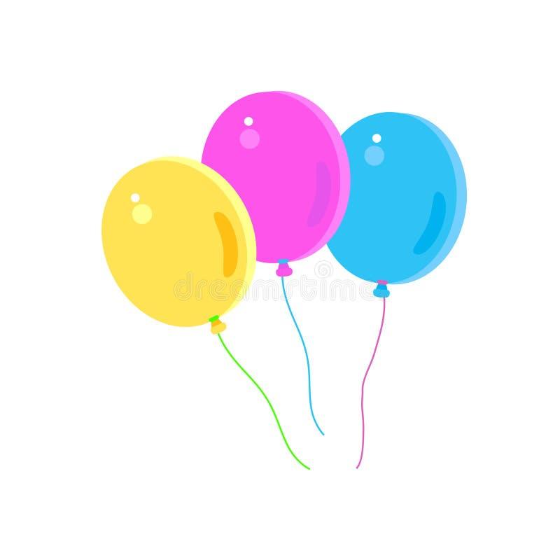 Αστείο ζωηρόχρωμο απομονωμένο μπαλόνια σύνολο κόμματος παιδιών γενεθλίων καρναβαλιού μπαλονιών ελεύθερη απεικόνιση δικαιώματος