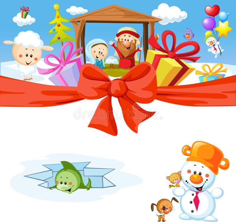 Αστείο διανυσματικό σχέδιο Χριστουγέννων ελεύθερη απεικόνιση δικαιώματος