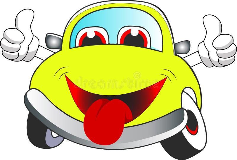 Αστείο κίτρινο χρωματισμένο αυτοκίνητο κινούμενων σχεδίων στοκ εικόνα με δικαίωμα ελεύθερης χρήσης