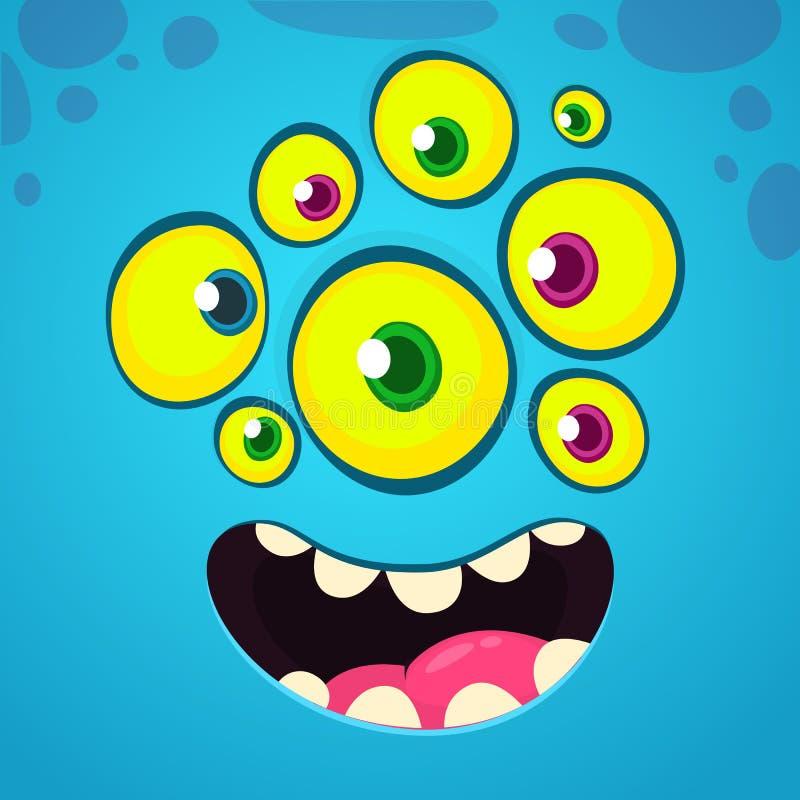 Αστείο και δροσερό πρόσωπο κινούμενων σχεδίων με πολλά μάτια Διανυσματικό είδωλο τεράτων αποκριών μπλε με το ευρύ χαμόγελο διανυσματική απεικόνιση
