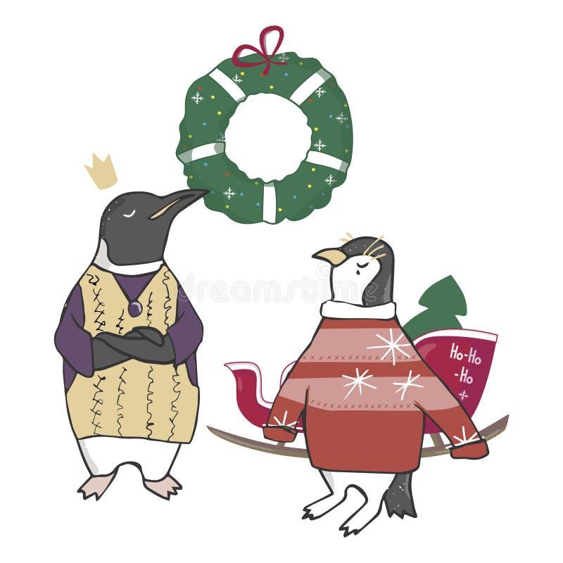 Αστείο και χαριτωμένο χριστουγεννιάτικο δέντρο penguins Χαρούμενα Χριστούγεννα και κάρτα καλής χρονιάς Κάρτα Χριστουγέννων στο ύφ ελεύθερη απεικόνιση δικαιώματος