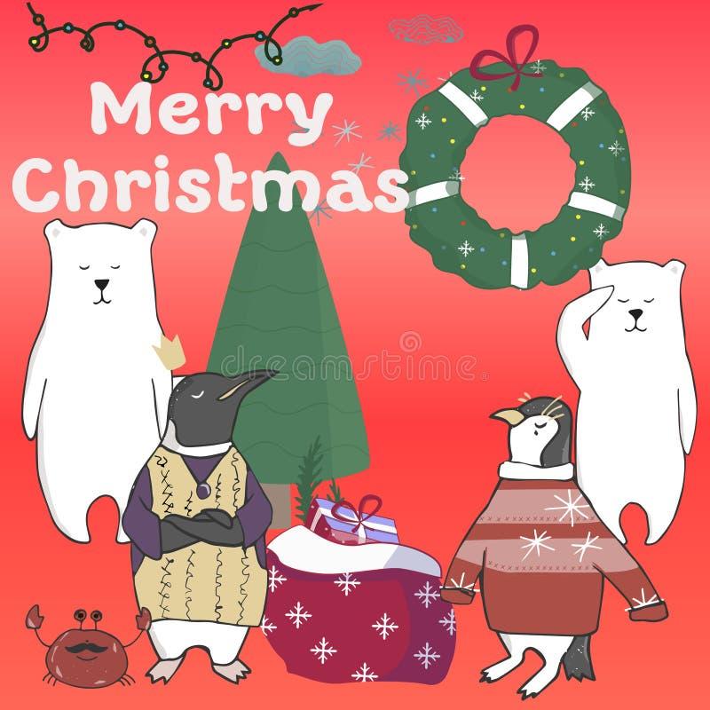 Αστείο και χαριτωμένο χριστουγεννιάτικο δέντρο penguins Χαρούμενα Χριστούγεννα και κάρτα καλής χρονιάς Κάρτα Χριστουγέννων στο ύφ διανυσματική απεικόνιση