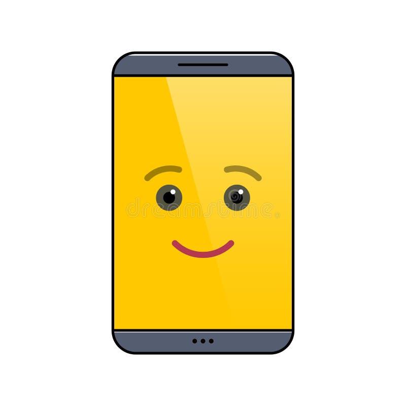 Αστείο κινητό τηλέφωνο που απομονώνεται emoticon απεικόνιση αποθεμάτων