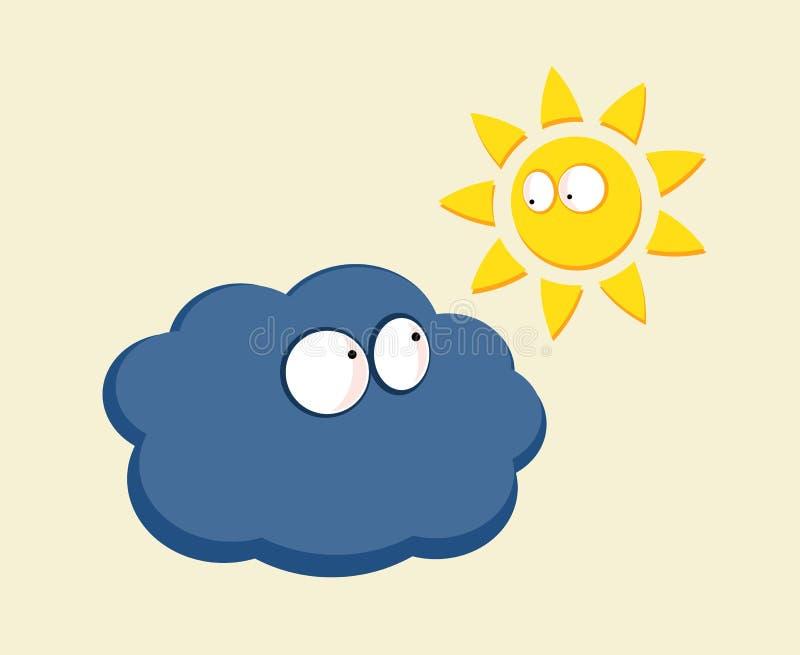 Αστείο κοίταγμα ήλιων και σύννεφων κινούμενων σχεδίων ελεύθερη απεικόνιση δικαιώματος