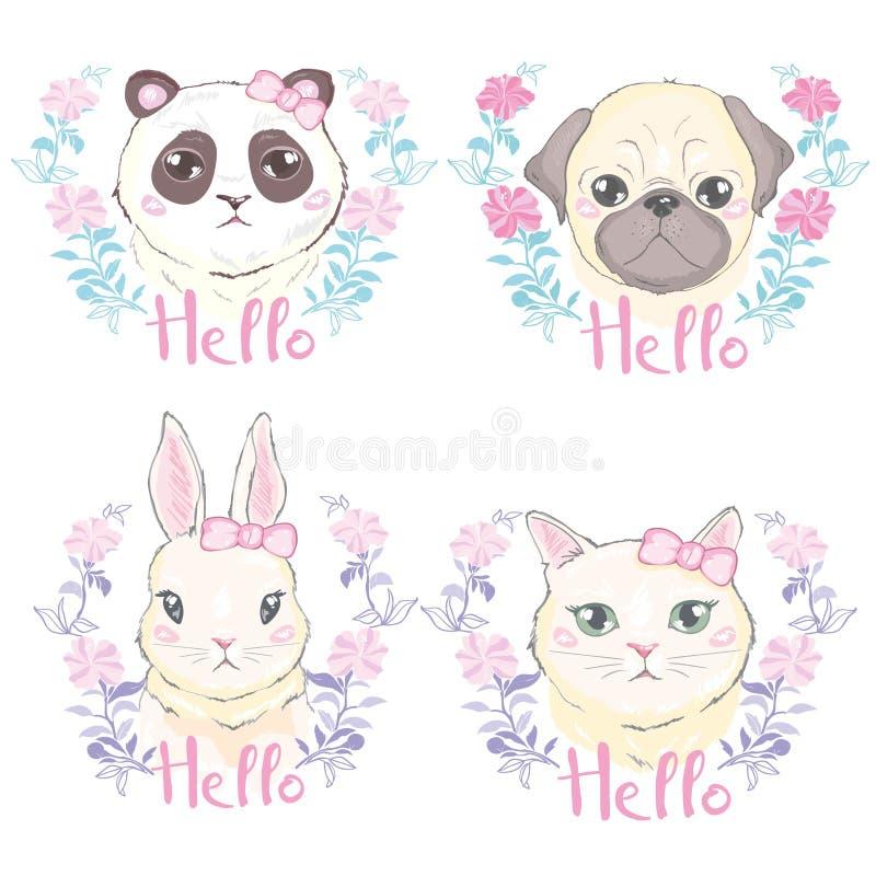 Αστείο κοριτσίστικο άνευ ραφής σχέδιο με το χαριτωμένο γατάκι, σκυλί, κουνέλι, πρόσωπα διανυσματική απεικόνιση