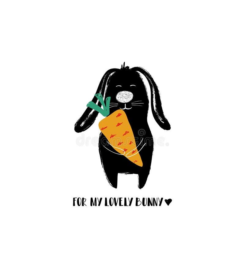 Αστείο κουνέλι Holdin ένα μεγάλο καρότο ελεύθερη απεικόνιση δικαιώματος