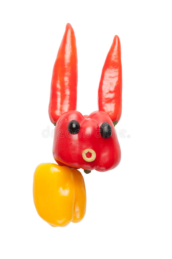 Αστείο κουνέλι του πιπεριού και των ελιών στοκ εικόνες με δικαίωμα ελεύθερης χρήσης