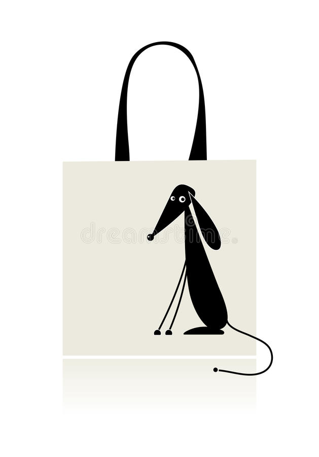Download Αστείο κουτάβι, σχέδιο της τσάντας αγορών Διανυσματική απεικόνιση - εικονογραφία από θηλαστικό, απομονωμένος: 17050166