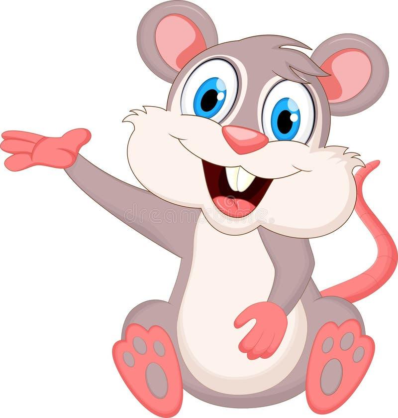 Αστείο κυματίζοντας χέρι κινούμενων σχεδίων ποντικιών ελεύθερη απεικόνιση δικαιώματος