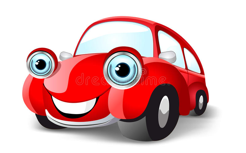 Αστείο κόκκινο αυτοκίνητο απεικόνιση αποθεμάτων