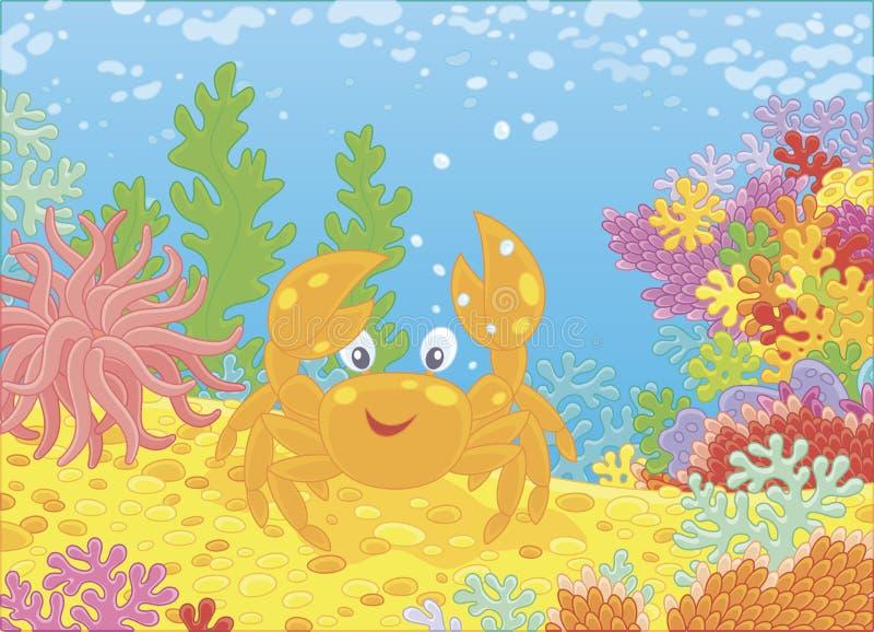 Αστείο κόκκινο καβούρι μεταξύ των κοραλλιών απεικόνιση αποθεμάτων