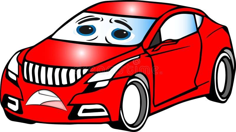 Αστείο κόκκινο χρωματισμένο αυτοκίνητο κινούμενων σχεδίων στοκ φωτογραφία