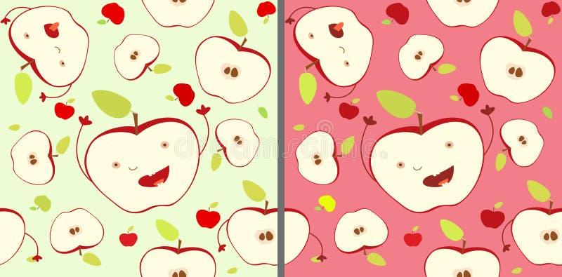 Αστείο μειωμένο χαρούμενο άνευ ραφής σχέδιο μισών μήλων έκφρασης Έννοια της συγκομιδής, χαρούμενη διαβίωση, αισιόδοξη αποδοχή πρό διανυσματική απεικόνιση