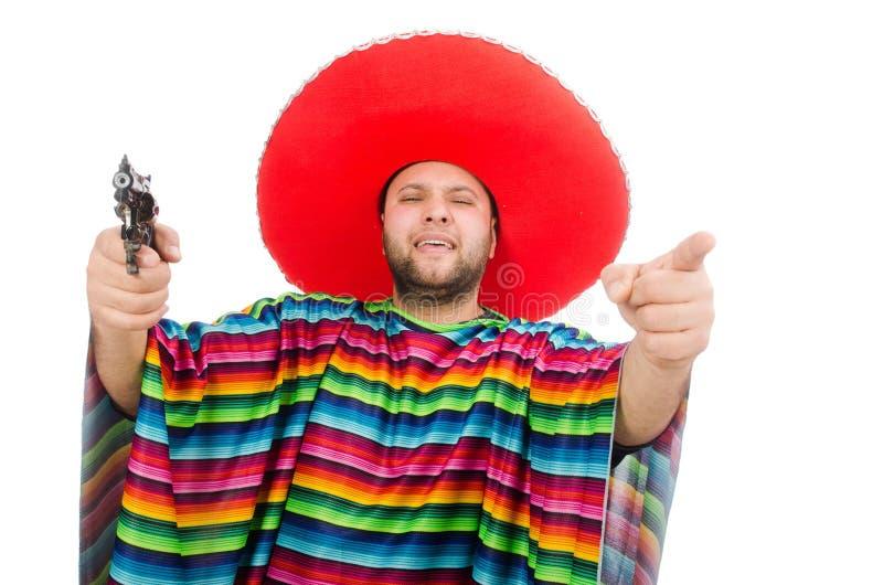 Αστείο μεξικάνικο πιστόλι εκμετάλλευσης που απομονώνεται στο λευκό στοκ φωτογραφία με δικαίωμα ελεύθερης χρήσης
