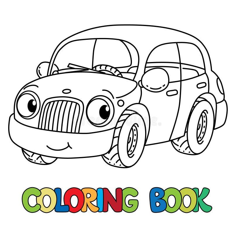 Αστείο μικρό αυτοκίνητο με τα μάτια γραφική απεικόνιση χρωματισμού βιβλίων ζωηρόχρωμη ελεύθερη απεικόνιση δικαιώματος