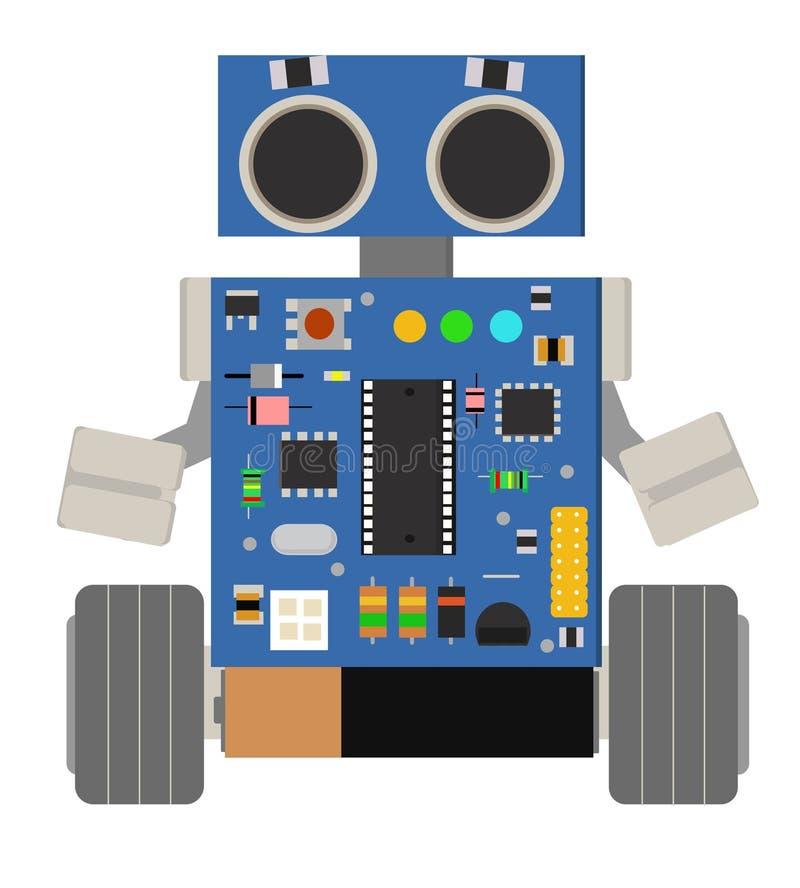 Αστείο μικρό ρομπότ διανυσματική απεικόνιση
