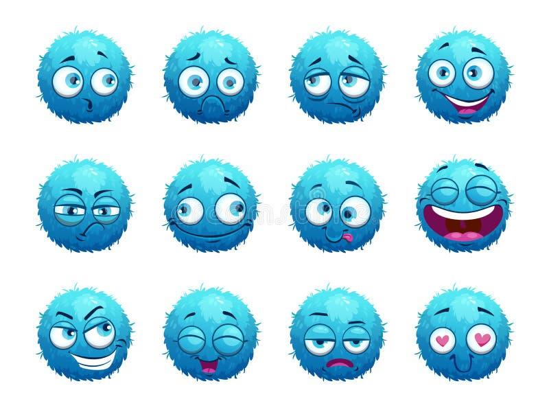 Αστείο μπλε στρογγυλό σύνολο χαρακτήρων διανυσματική απεικόνιση