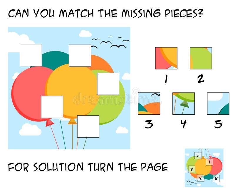 Αστείο παιχνίδι γρίφων για τα παιδιά - mach τα ελλείποντα κομμάτια στο θόριο ελεύθερη απεικόνιση δικαιώματος